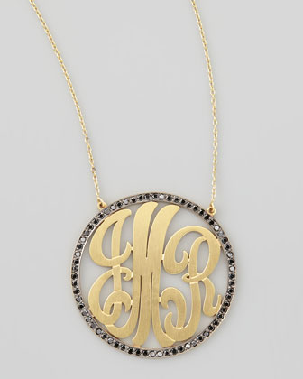 Cutout-Monogram Large Pave Black Diamond Necklace