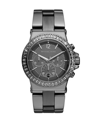 Mid-Size Gunmetal Stainless Steel Dylan Chronograph Glitz Watch