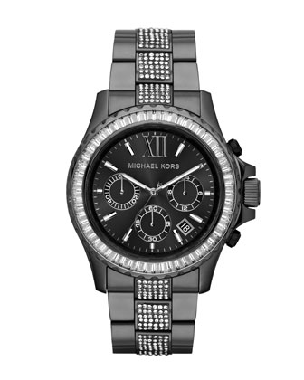 Oversize Gunmetal Stainless Steel Everest Chronograph Glitz Watch