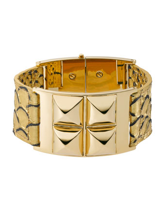 Python-Embossed Bangle, Golden