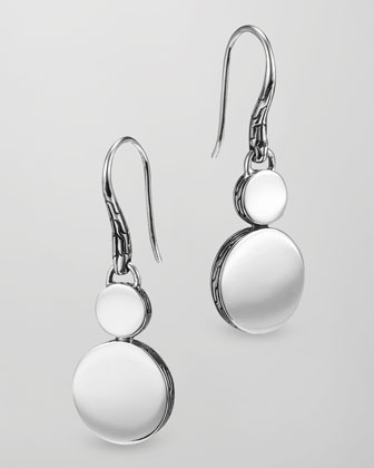 Dot Silver Double-Drop Earrings
