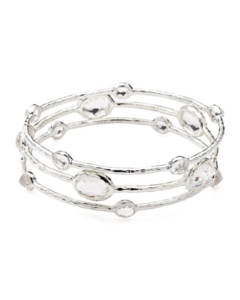 Sterling Silver Bangle Set in Clear Quartz