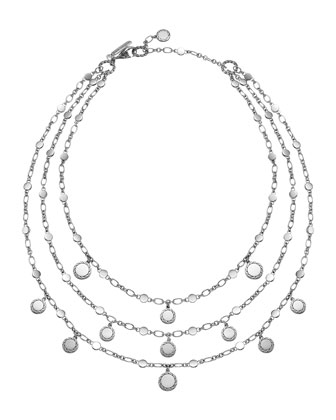 Silver Dot & Chain 3-Row Necklace