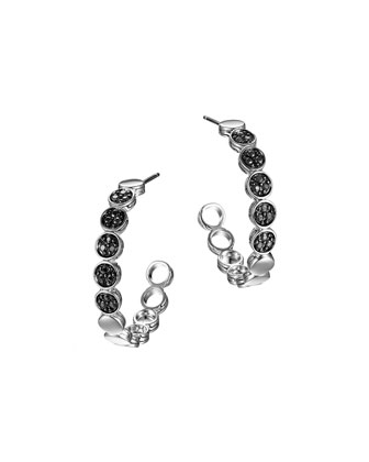 Silver Dot Lava Small Hoop Earrings with Black Sapphire