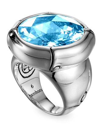 Batu Bamboo Silver Blue Topaz Ring