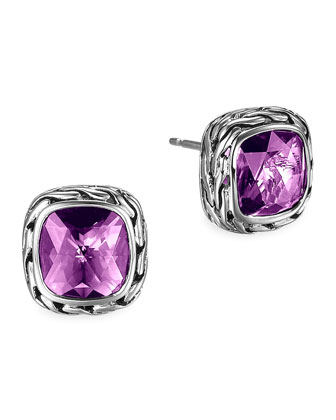 Batu Chain Amethyst Stud Earrings