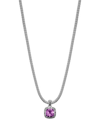 Batu Chain Amethyst Pendant Necklace, Small