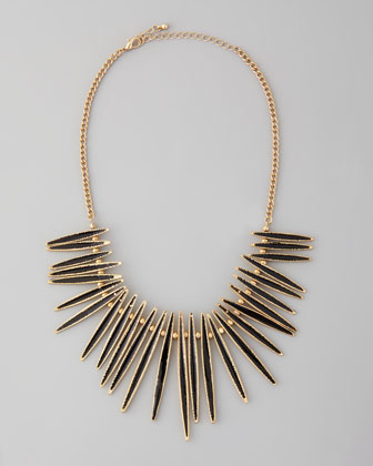Spiked-Pendant Bib Necklace