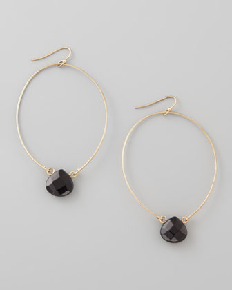 Teardrop-Crystal Hoop Earrings, Black