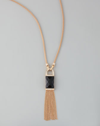 Lock-and-Tassel Pendant Necklace