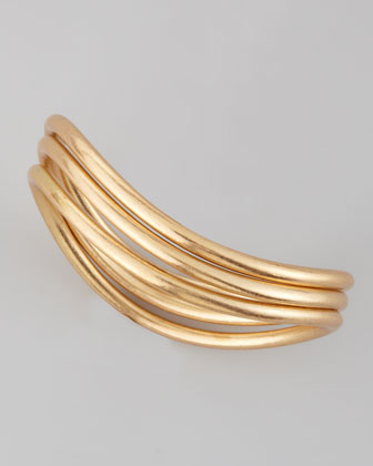 3-Piece Matte Golden Wave Bangles