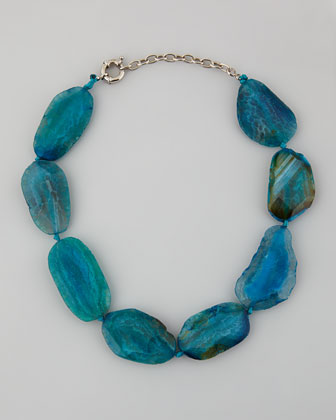 Chunky Agate Collar Necklace, Blue