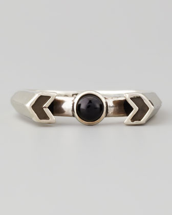 Silver Chevron Reveal Ring, Onyx