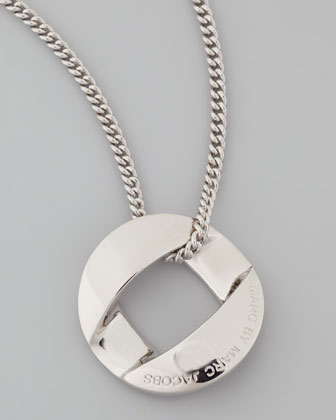 Cable Link-Pendant Necklace, Silvertone