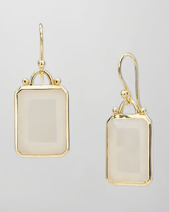 Deco 18k Gold Emerald-Cut Moonstone Earrings
