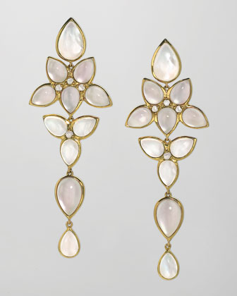 Mariposa 18k Gold Long Milky Quartz Chandelier Earrings