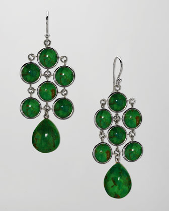 Juliette Chandelier Earrings, Green Turquoise