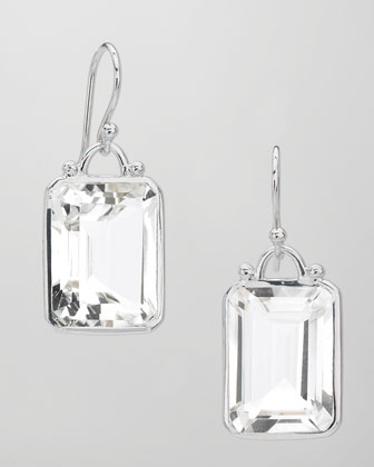 Deco Emerald-Cut White Quartz Earrings