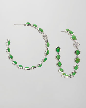 Simone Large Eternity Hoop Earrings, Green Turquoise