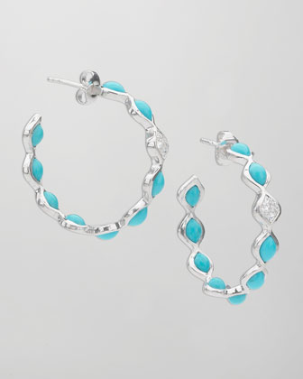Simone Small Eternity Hoop Earrings, Blue Turquoise
