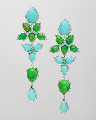 Mariposa Long Chandelier Earrings, Blue/Green