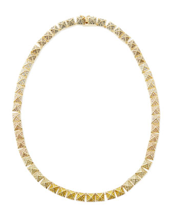 Small Pave Ombre Crystal Pyramid Necklace, Yellow/Pink