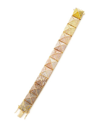 Large Pave Ombre Crystal Pyramid Bracelet, Yellow/Pink