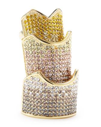Pave-Crystal Hinge Plate Ring