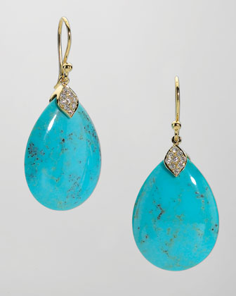 Eliza Large Blue Turquoise Teardrop Earrings
