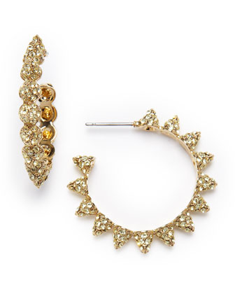 Pave Small Cone Hoop Earrings