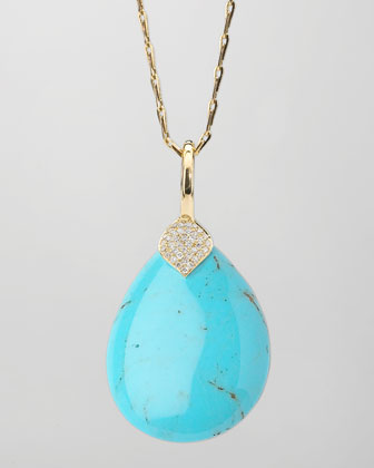 Eliza Large Blue Turquoise Pendant Necklace