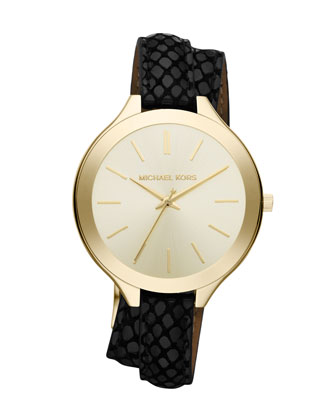Slim Embossed-Leather Brass Runway Watch
