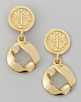 Cable Link-Drop Earrings, Yellow Golden