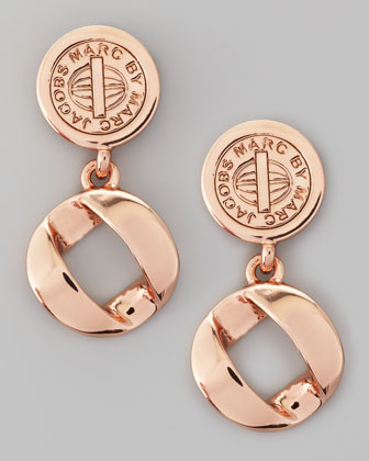 Cable Link-Drop Earrings, Rose Golden