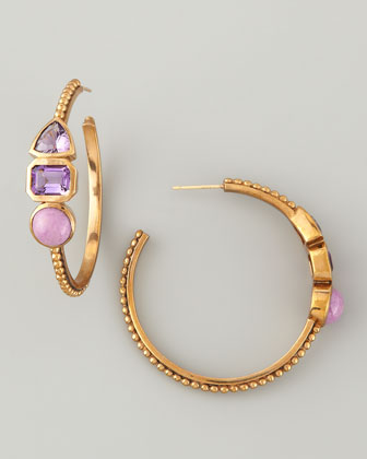3-Stone Cathedral Hoop Earrings, Purple