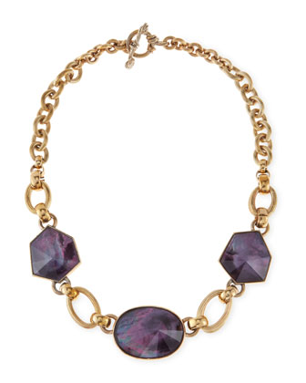 Galactic Rock Crystal Necklace, Purple