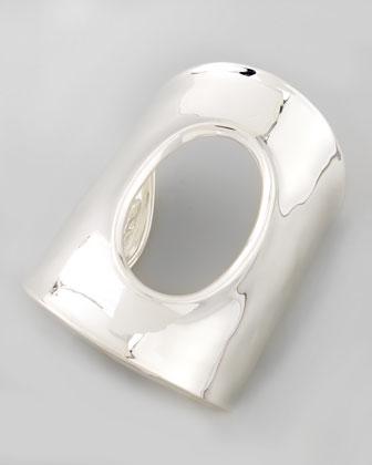 Oval-Cutout Large Silver Cuff Bracelet