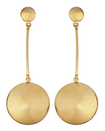 Gold-Plate Button Drop Earrings