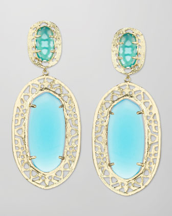 Darian Scroll-Border Earrings, Turquoise