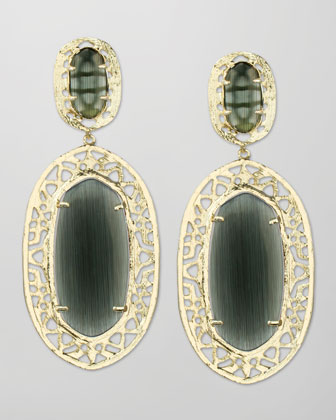 Darian Scroll-Border Earrings, Black