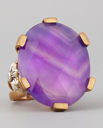 Oval Purple Agate Statement Ring