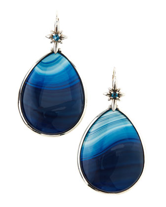 Blue Agate Teardrop Earrings