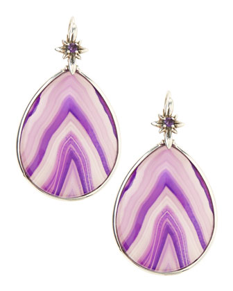 Purple Agate Teardrop Earrings
