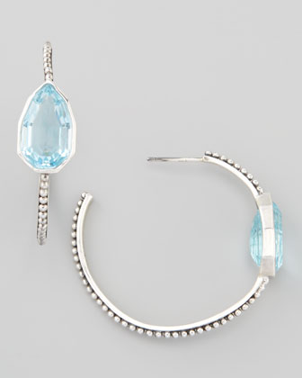Cathedral Small Hoop Earrings, Blue Topaz