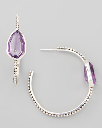 Cathedral Small Hoop Earrings, Amethyst