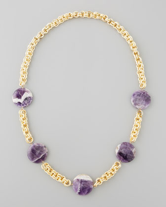 Amethyst Coin Necklace, Purple