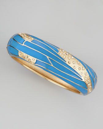 Wide Butterfly-Wing Bangle, Cobalt