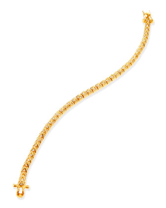 Pave Crystal Pyramid Tennis Bracelet, Yellow Gold
