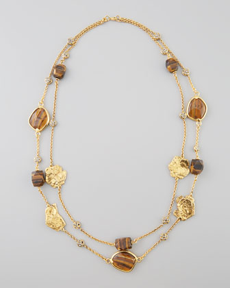 Long Tiger's Eye Two-Chain Necklace