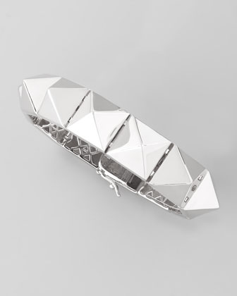 Large Pyramid Bracelet, Silver Plate
